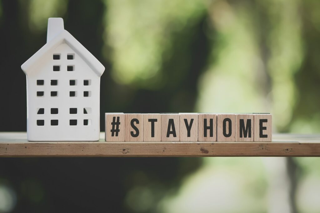 call, at home, stay